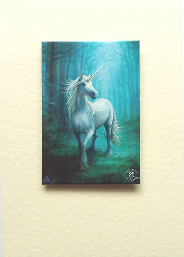 Blue unicorn greetings card by anne stokes with detachable magnet m4hsunfo
