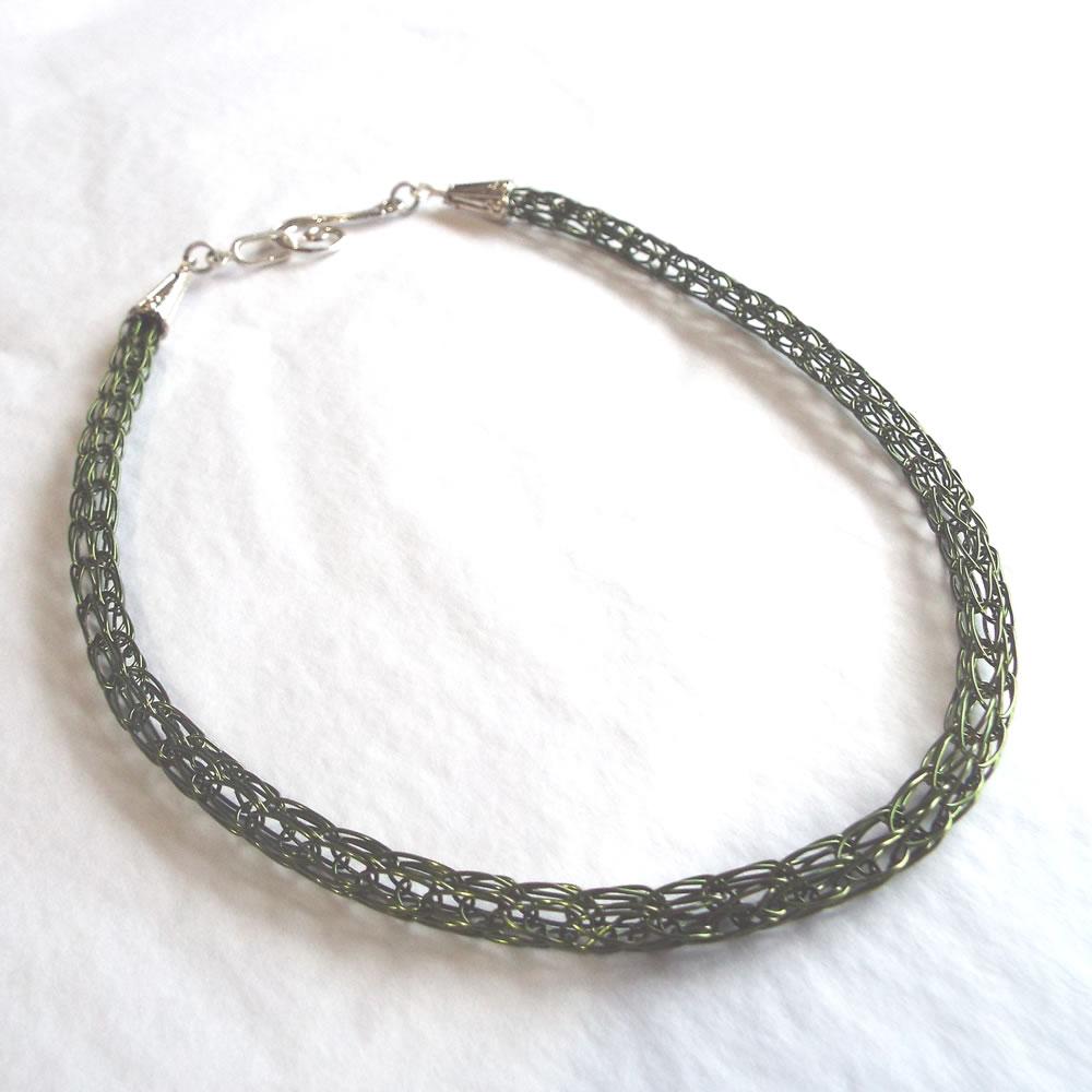 Plain Green Viking Knit Necklace