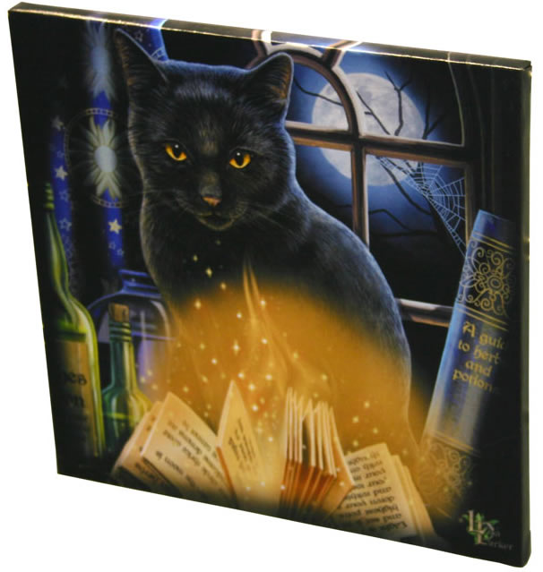 BLACK CAT ORACLE TAROT CAT CANVAS /'THE READER/' BY LISA PARKER MYTHICAL WALL ART